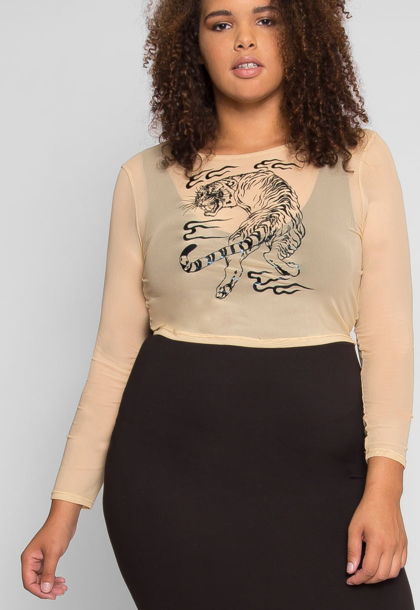 Plus Size Prowling Mesh Tiger Print Top in Nude - Plus Tops - Wetseal