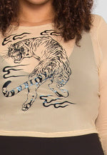 Plus Size Prowling Mesh Tiger Print Top in Nude