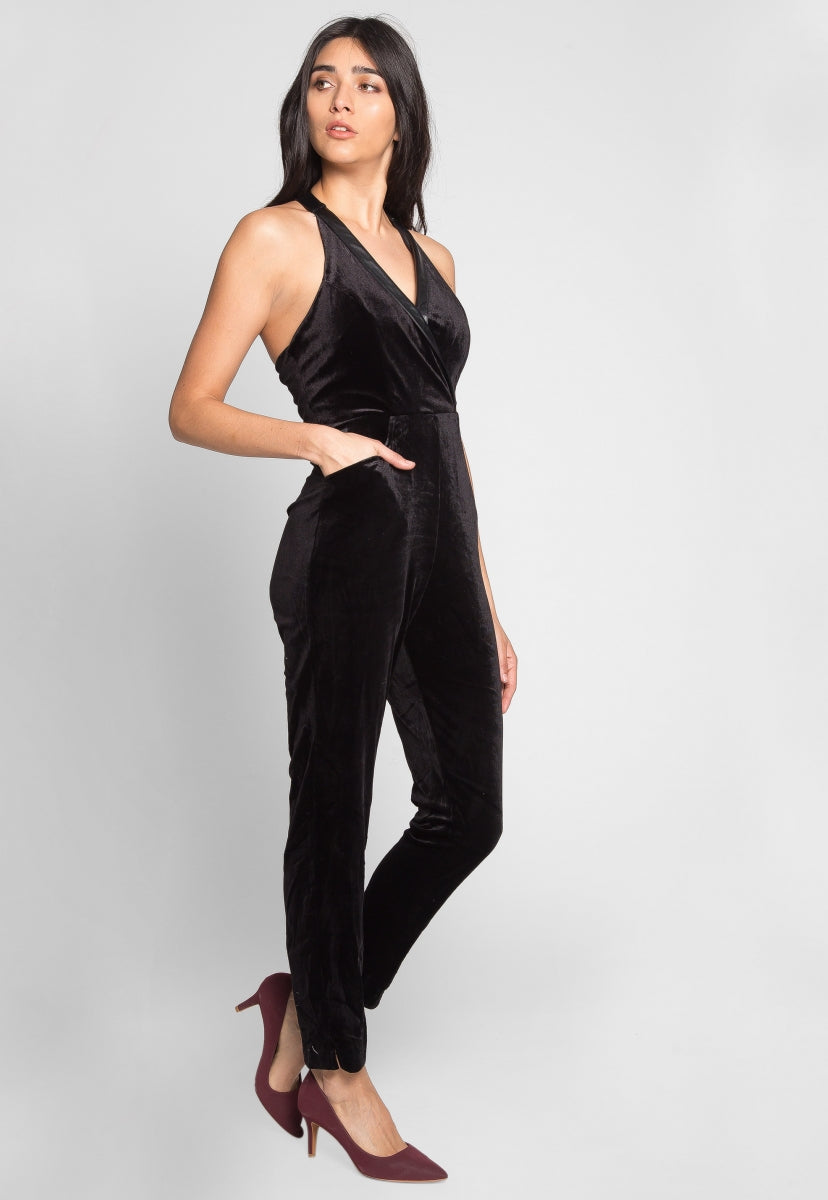 Feel Love Velvet Halter Jumpsuit - Rompers & Jumpsuits - Wetseal