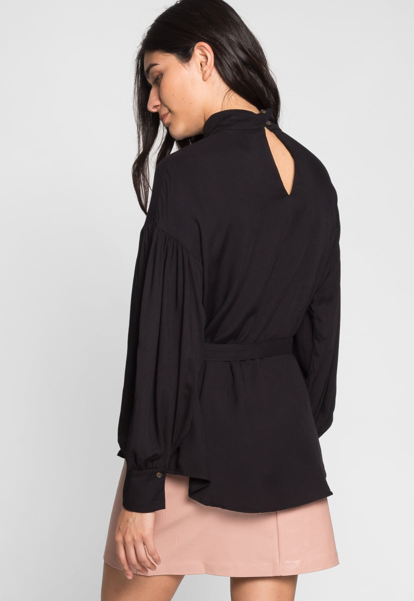 Mock Neck Belted Blouse in Black - Shirts & Blouses - Wetseal