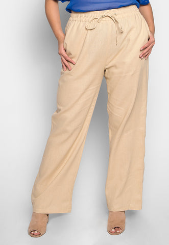 Plus Size April Drawstring Pants in Beige