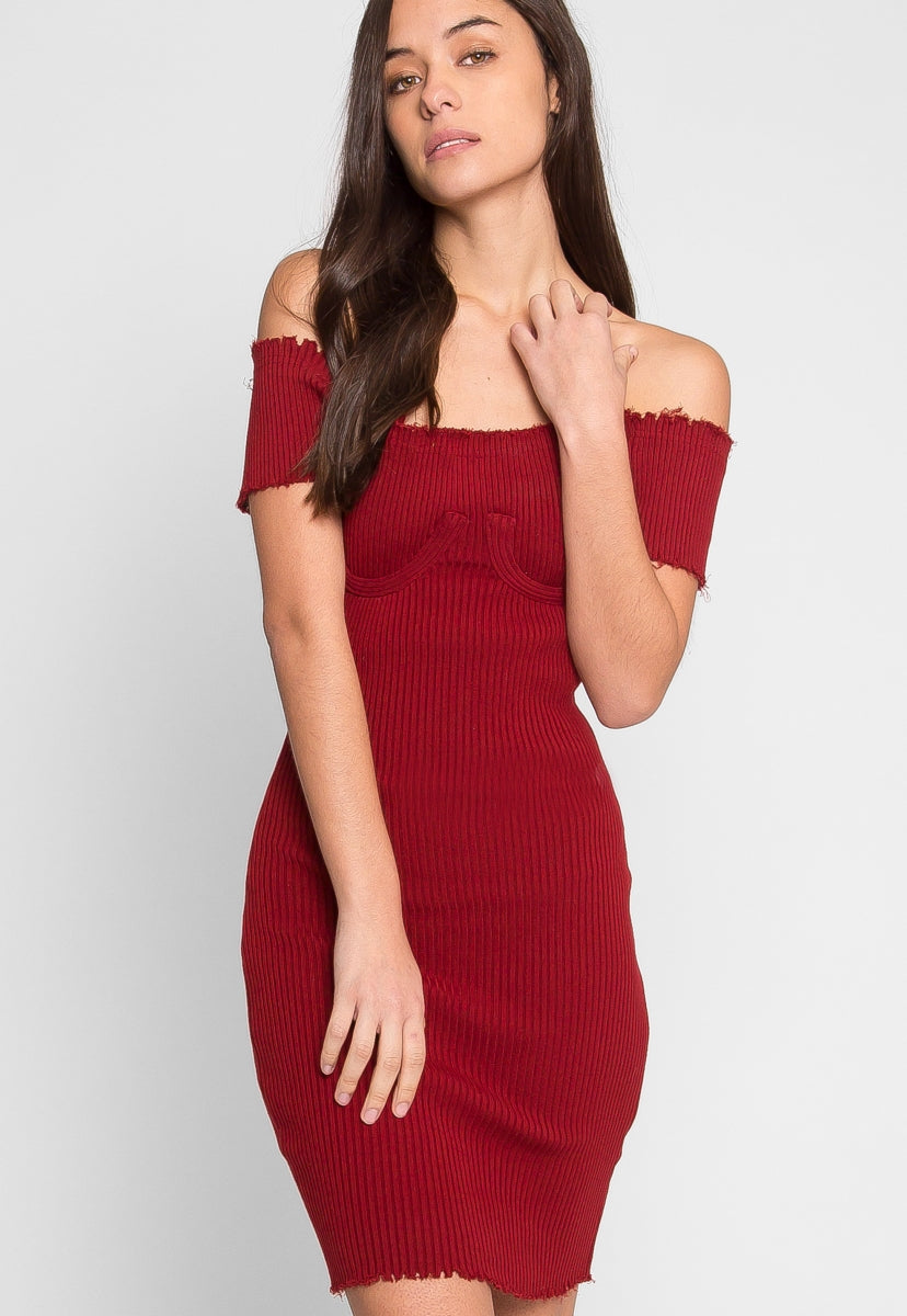 Faux Underwire Short Sleeve Dress in Burgundy - Dresses - Wetseal