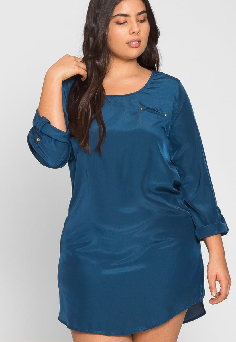 Plus Size Lightweight Satin Tunic Dress in Teal - Plus Dresses - Wetseal