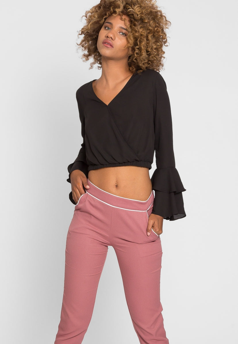Girly Contrast Trim Scallop Pants in Pink - Pants - Wetseal