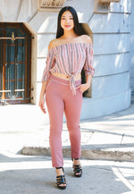 Girly Contrast Trim Scallop Pants in Pink