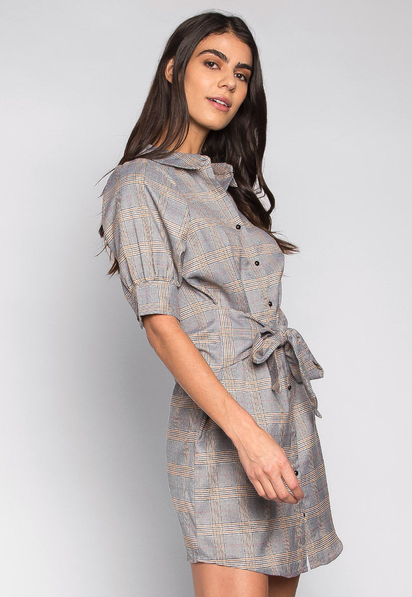 Manhattan Self Tie Plaid Shirt Dress - Dresses - Wetseal