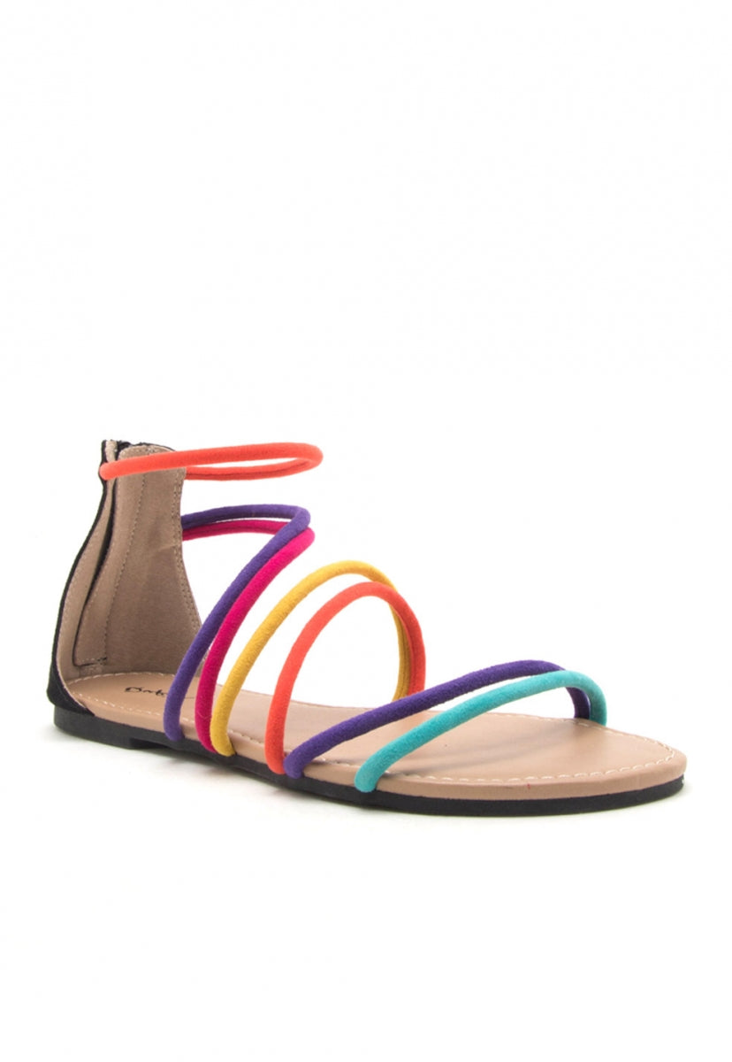 Dixie Rainbow Gladiator Sandals - Shoes - Wetseal