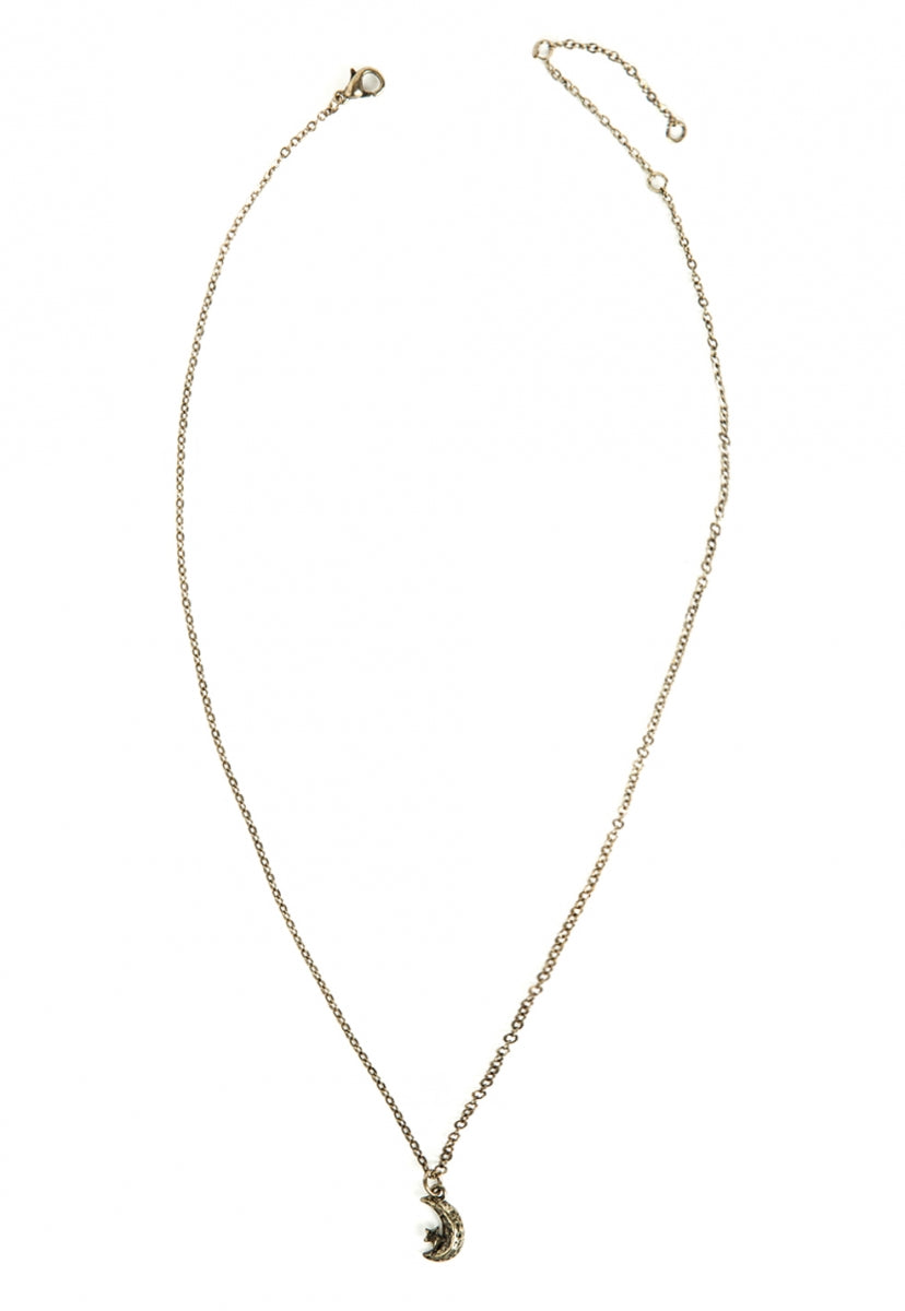 Woods Crescent Charm Necklace in Gold - Jewelry - Wetseal