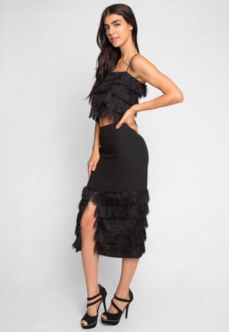 Speakeasy Fringe Crop Top Skirt Set