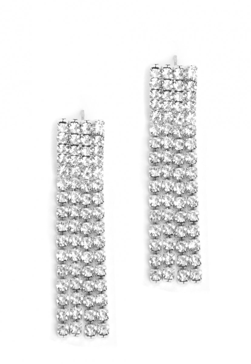 Waterfall Earrings in Silver - Jewelry - Wetseal