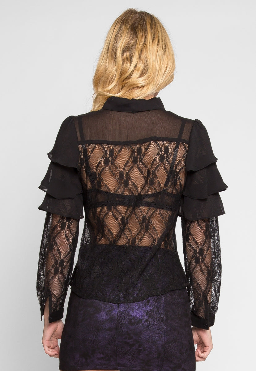 Flutter Sheer Lace Front Top - Shirts & Blouses - Wetseal