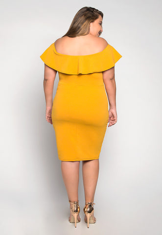 Plus Size Heartbeat Foldover Dress in Mustard