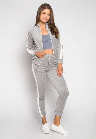 Parade Velvet Side Stripe Two Piece Pants Set in Gray