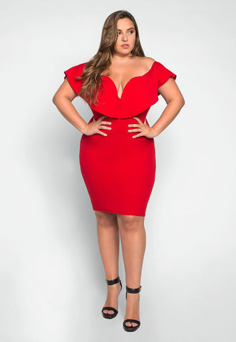 Plus Size Heartbeat Foldover Dress in Red
