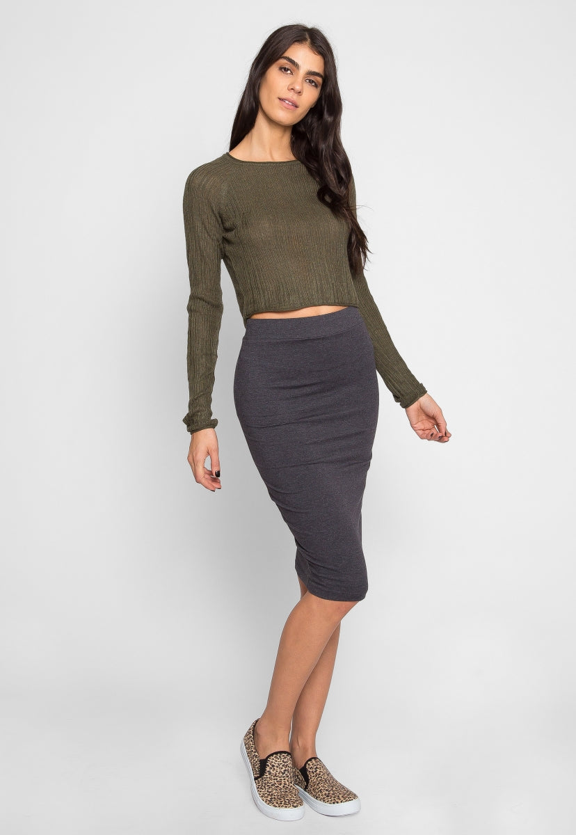 Full Moon Crop Sweater Top in Olive - Shirts & Blouses - Wetseal