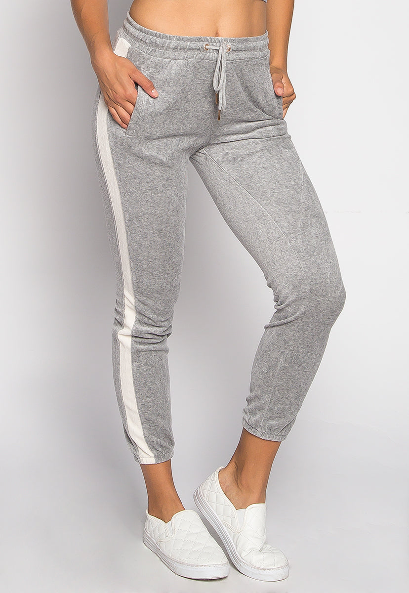 Parade Velvet Side Stripe Two Piece Pants Set in Gray - Set - Wetseal