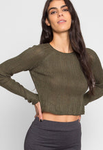 Full Moon Crop Sweater Top in Olive