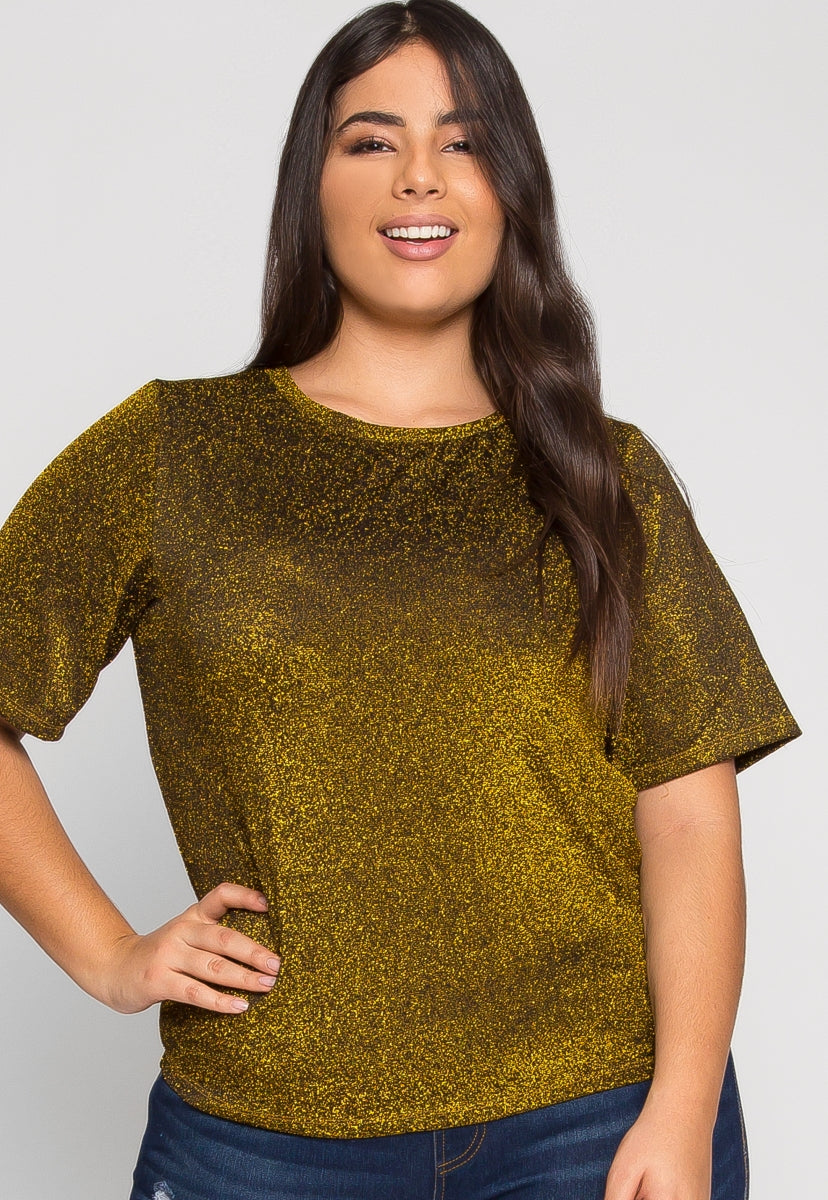 Plus Size Shine Lurex Top in Gold - Plus Tops - Wetseal