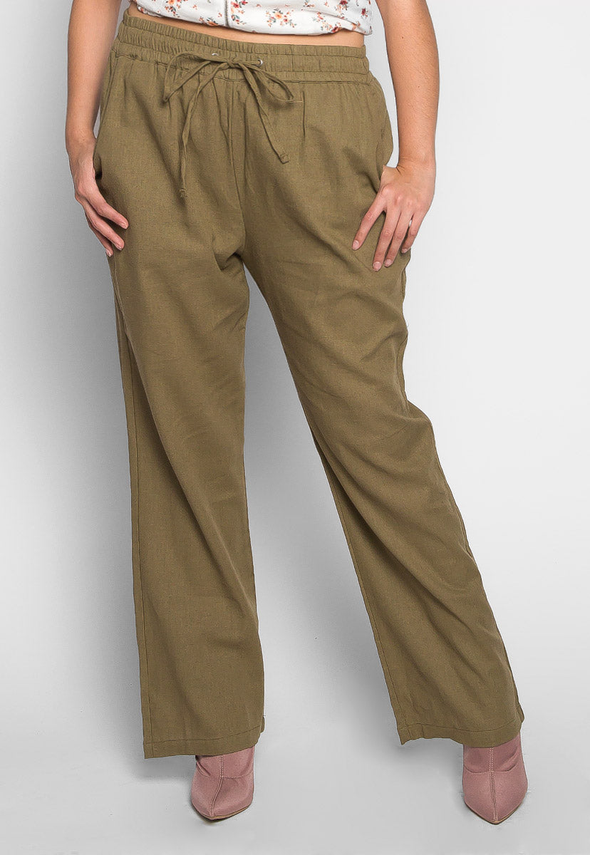 Plus Size April Drawstring Pants in Olive - Plus Bottoms - Wetseal