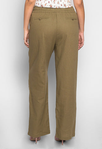 Plus Size April Drawstring Pants in Olive