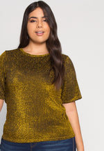 Plus Size Shine Lurex Top in Gold