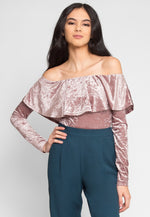 Pathway Crushed Velvet Bodysuit in Lilac
