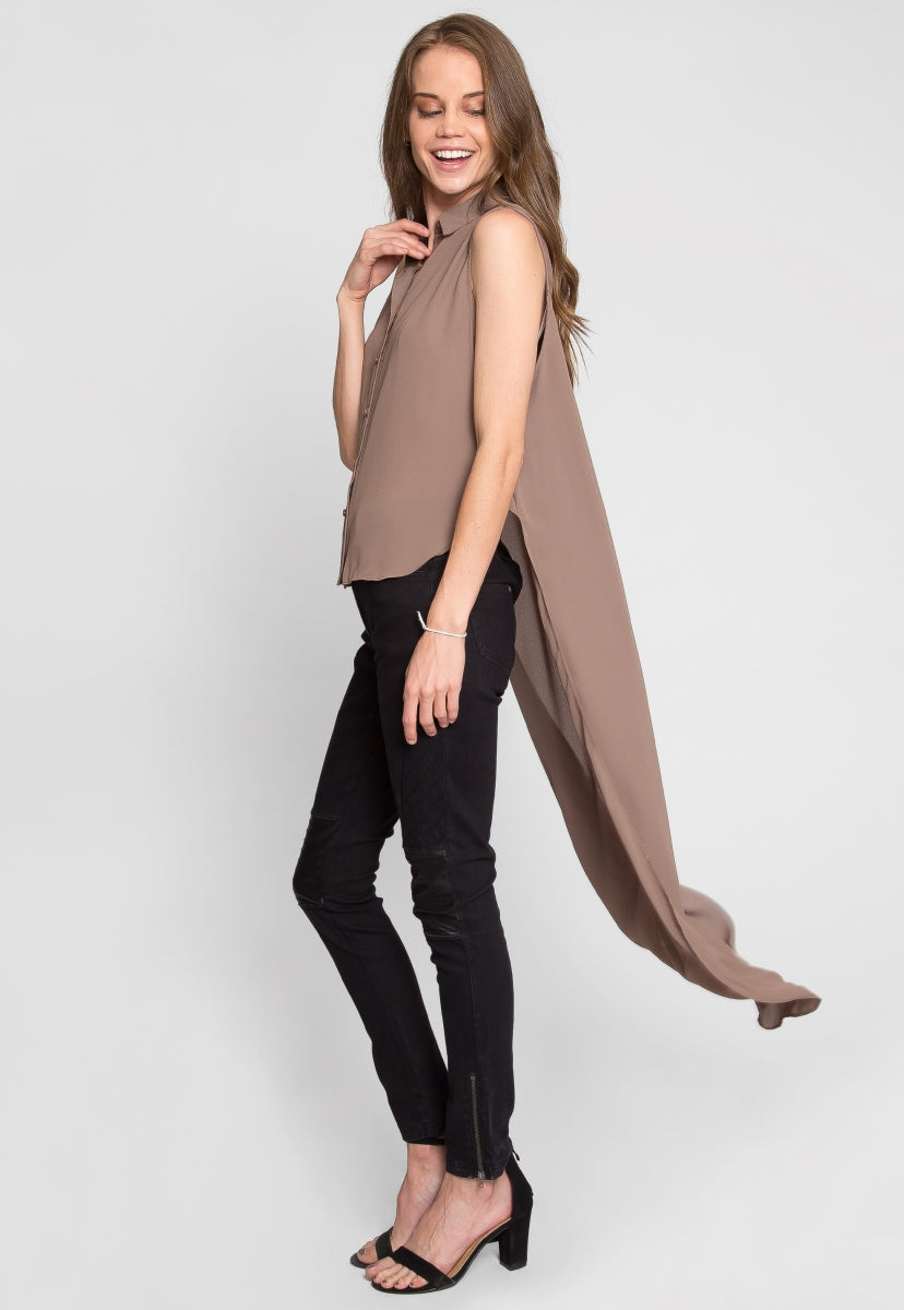 Woods High Low Tunic Top in Mocha - Shirts & Blouses - Wetseal