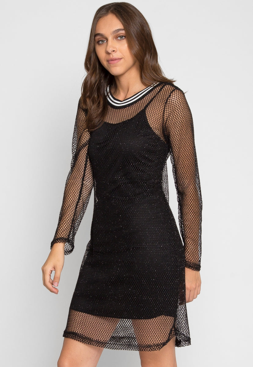Treasure Glitter Fishnet Dress - Dresses - Wetseal