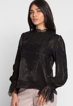 Gala Satin Lace Trim Blouse