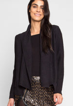 Chai Latte Open Front Cardigan in Black