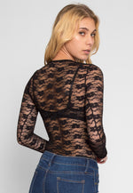 Davenport Lace Bodysuit in Black