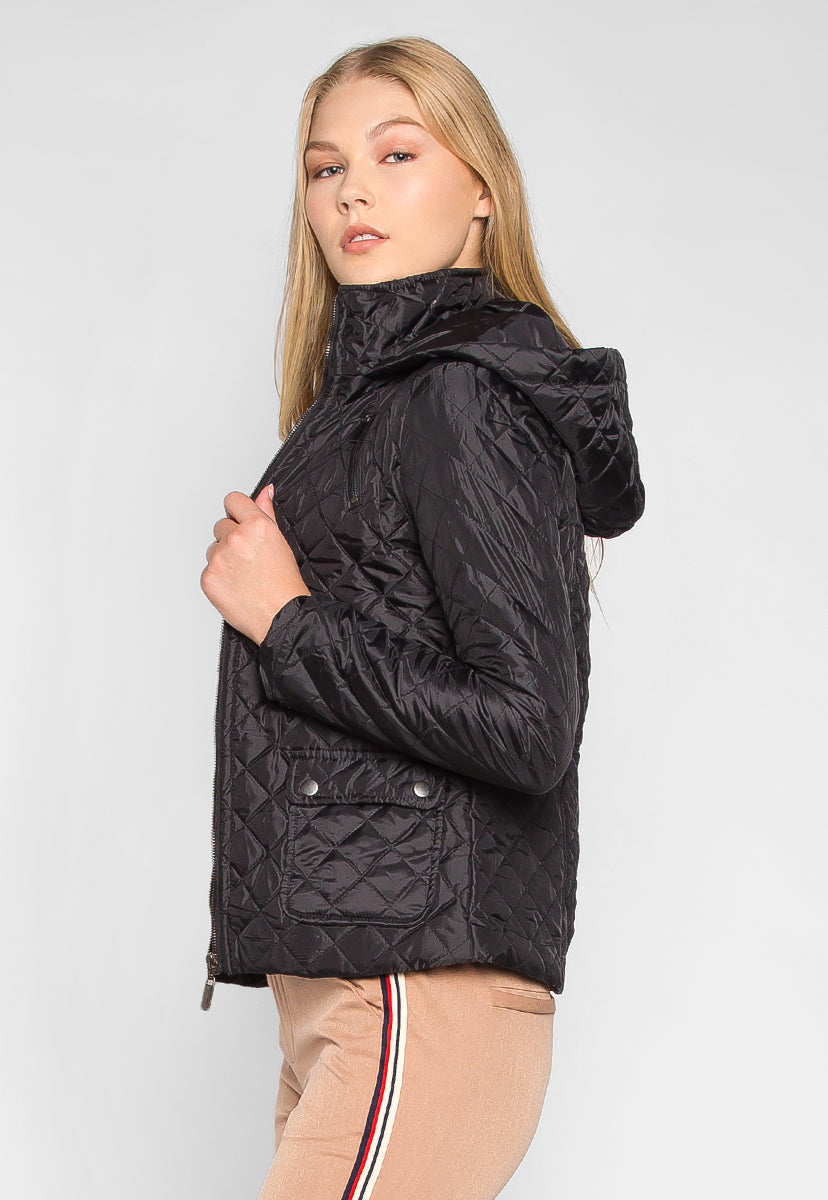 Adventure Time Hooded Quilted Jacket in Black - Jackets & Coats - Wetseal