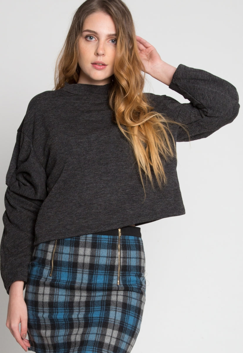 Lounge Sleeve Detailed Sweater in Charcoal - Sweaters & Sweatshirts - Wetseal