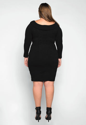 Plus Size Oblivion Shawl Lapel Knit Dress in Black
