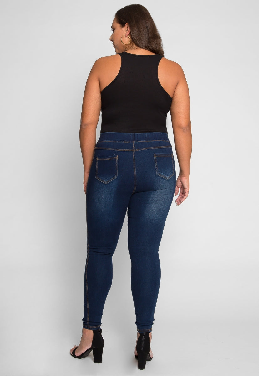 Plus Size Daria Distressed Jeggings - Plus Bottoms - Wetseal