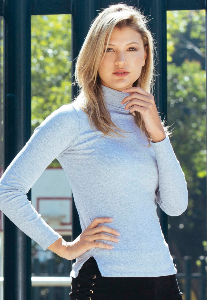 Hail Turtleneck Top in Gray - Shirts & Blouses - Wetseal