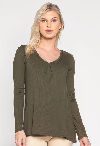 Lizzie Rib Knit Top in Olive