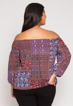 Plus Size Patchwork Off Shoulder Top