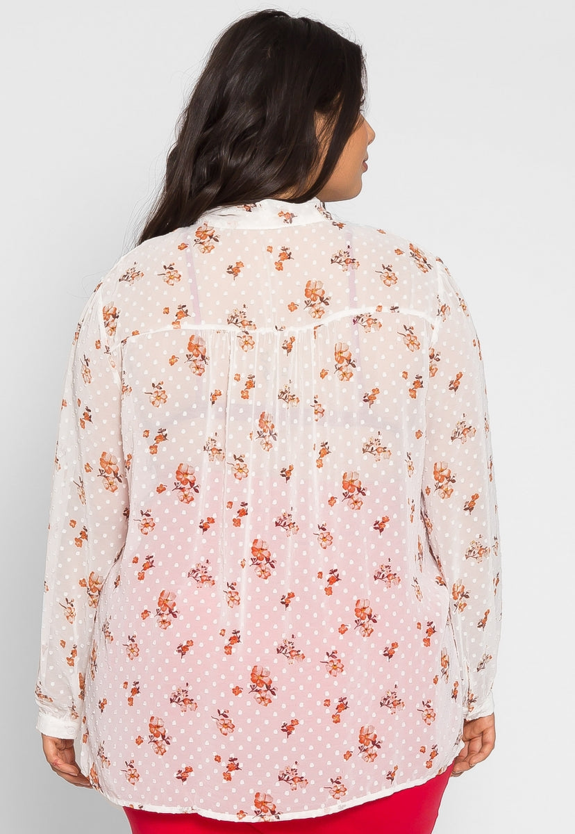 Plus Size Bixby Floral Sheer Blouse - Plus Tops - Wetseal
