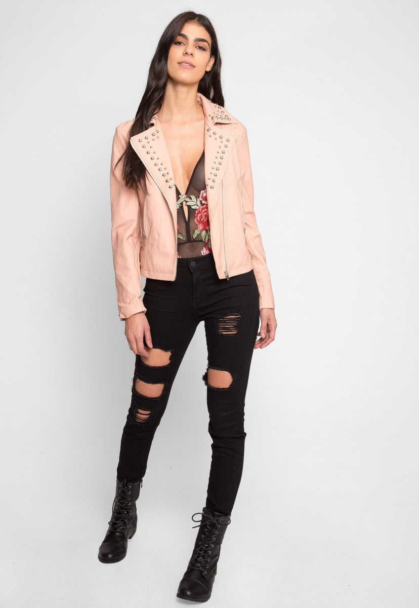 Gia Studded Leather Jacket in Pink - Jackets & Coats - Wetseal
