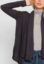 Waterfall Open Front Cardigan in Charcoal