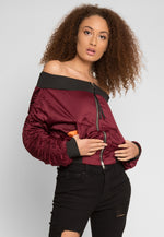 Bad Girl Off Shoulder Bomber Jacket