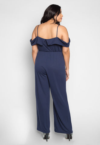 Plus Size Sunday Cold Shoulder Jumpsuit in Navy