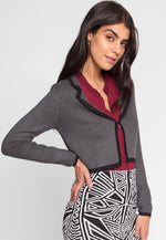 Campbell Lapel Crop Cardigan in Charcoal