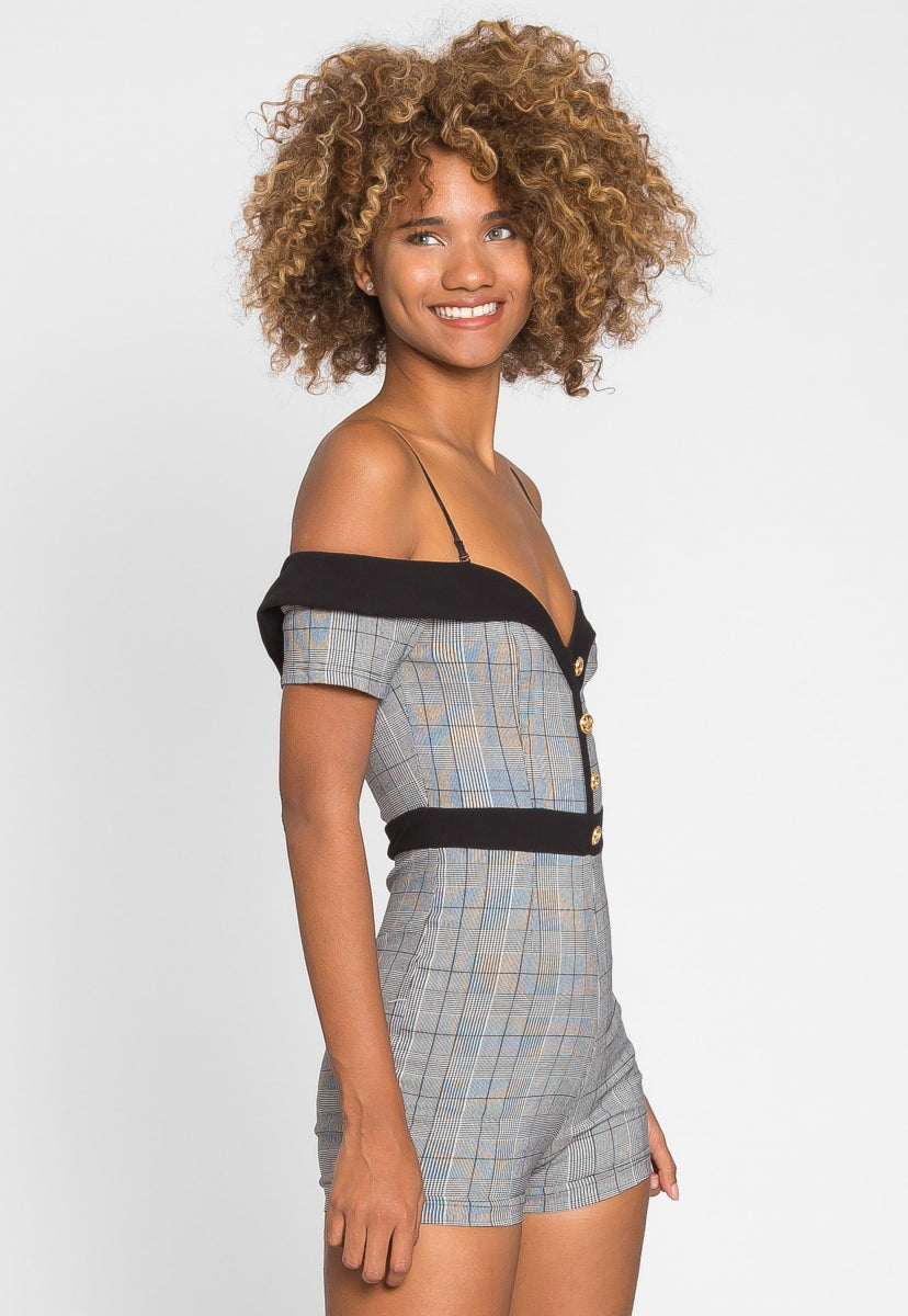 Wonderful Glen Plaid Romper - Rompers & Jumpsuits - Wetseal
