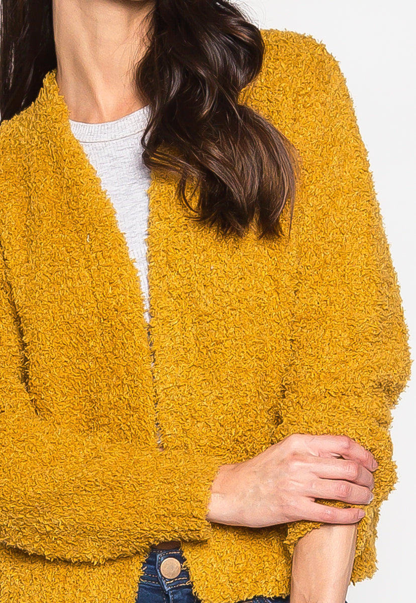 Campfire Front Open Fuzzy Cardigan - Sweaters & Sweatshirts - Wetseal