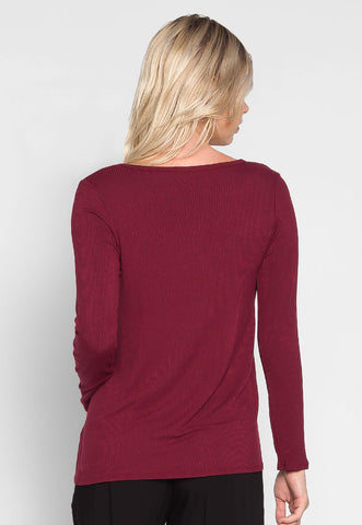 Lizzie Rib Knit Top in Burgundy