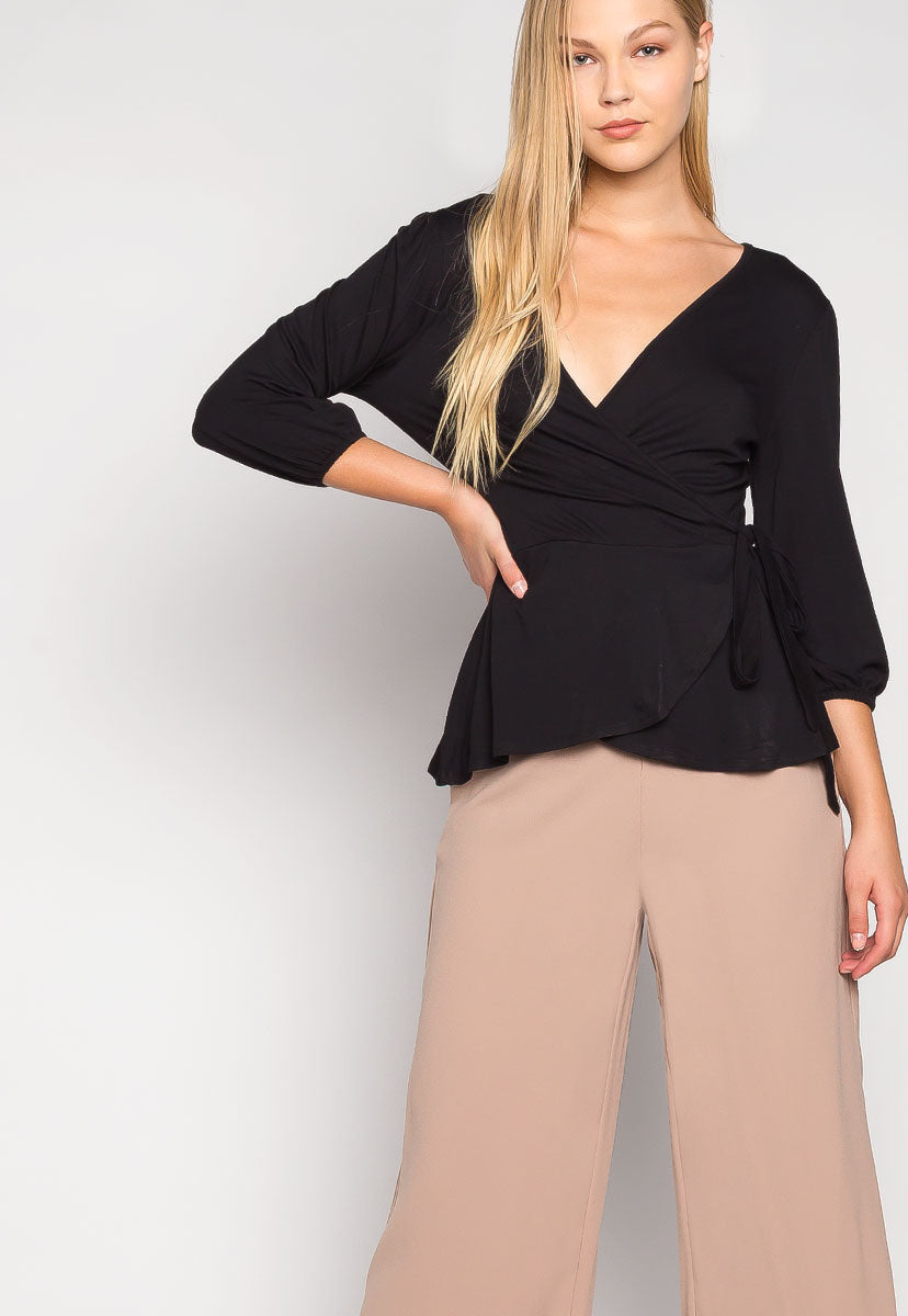 Peony Self Tie Wrap Blouse in Black - Shirts & Blouses - Wetseal