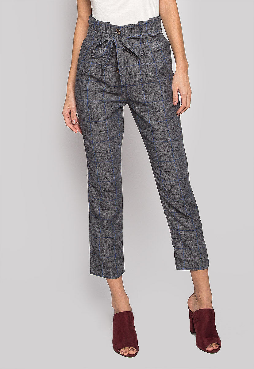 Sweet Enough Paper Bag Plaid Pants - Pants - Wetseal