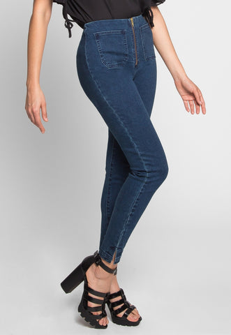 High Waist Zipper Front Skinny Jeans